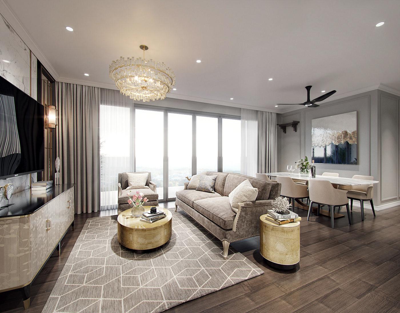 Neoclassical style apartment interior design