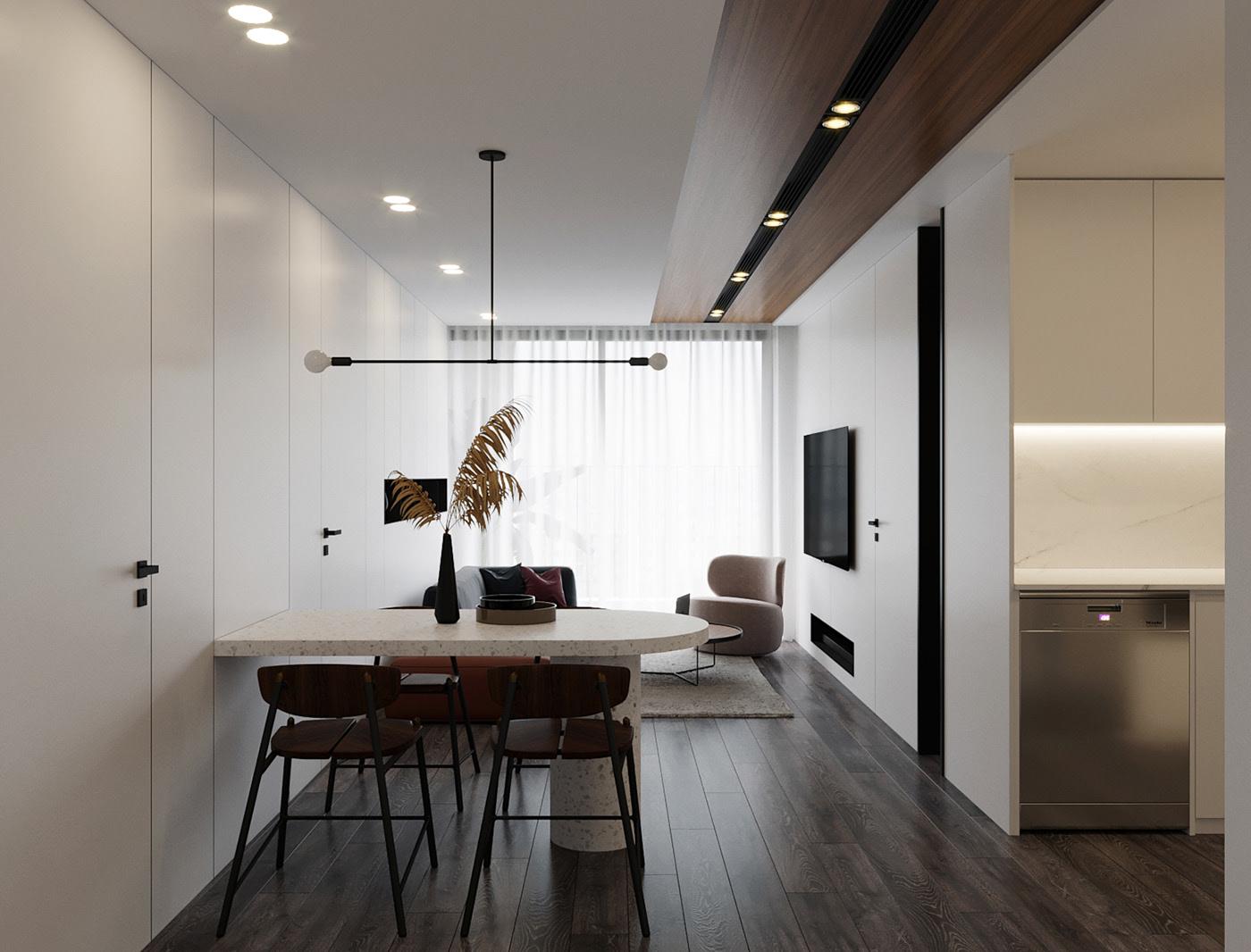 Minimalistic style apartment interior design