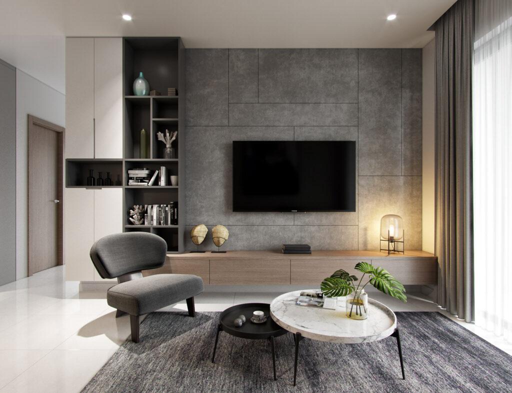 Kệ tivi phòng khách đơn giản nhưng hiện đại