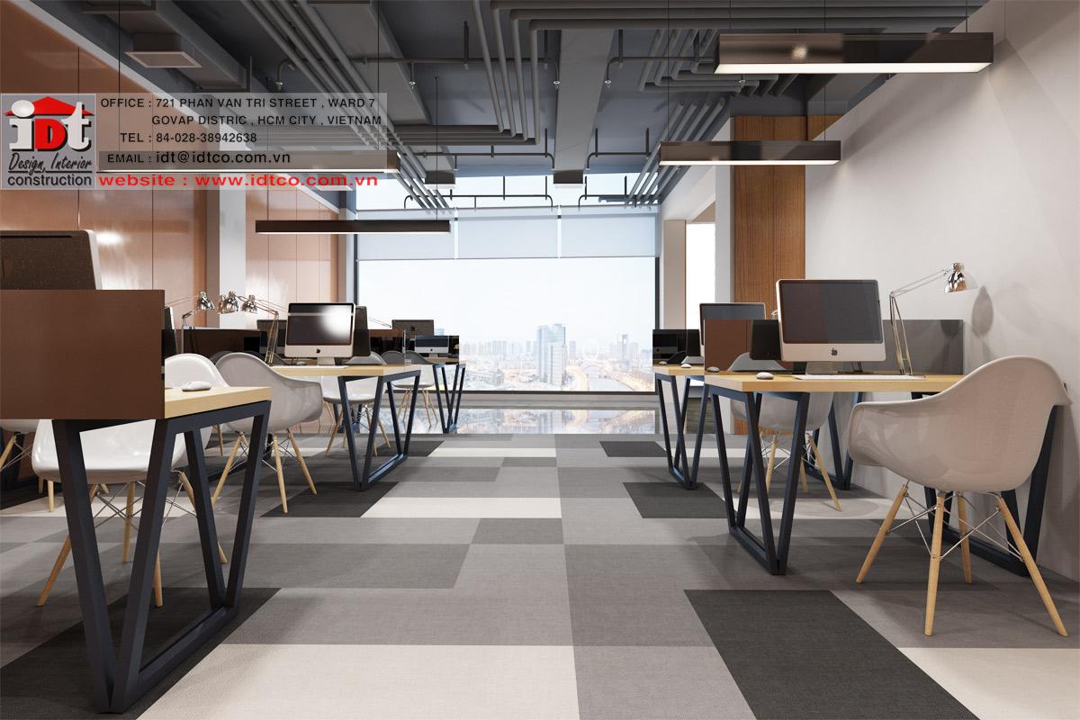 Thiết kế và thi công nội thất văn phòng của cty IDT