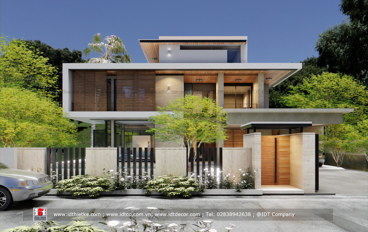 Design a modern style villa with a flat roof for the tropics