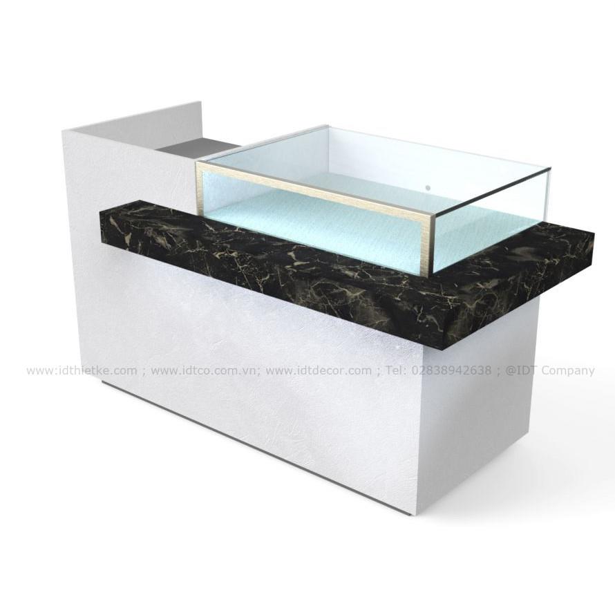 Quầy thu ngân kết hợp trưng bày tủ kính màu vân đá Marble