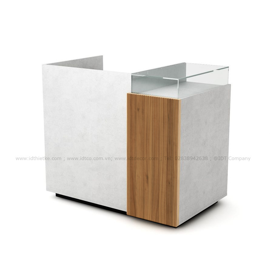 Quầy thu ngân cho shop có tủ trưng bày tủ kính QTN10