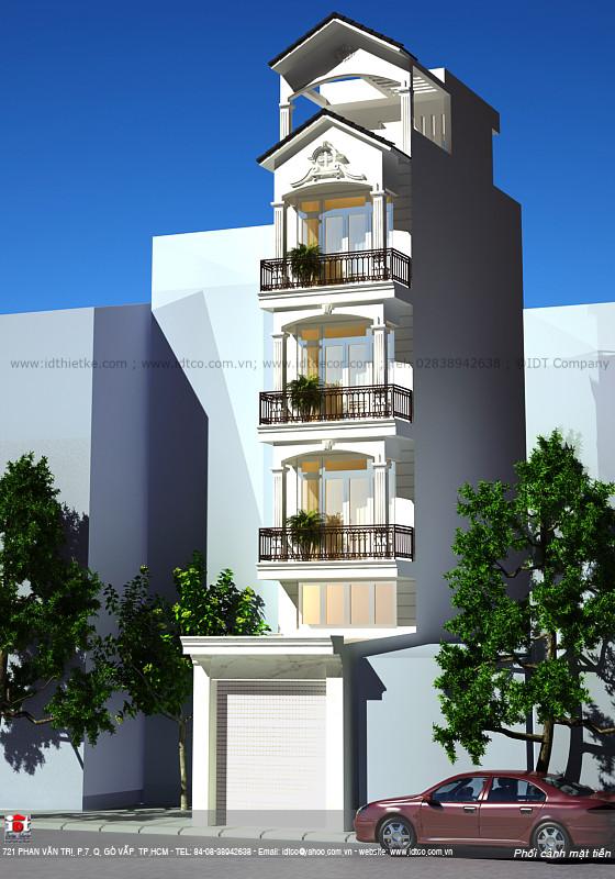Thiết kế nhà phố 5 tầng phong cách tân cổ điển NPC02
