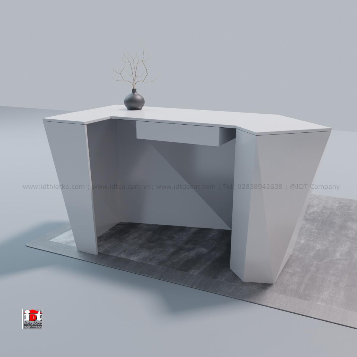 Luxury modern diamond shaped low reception counter
