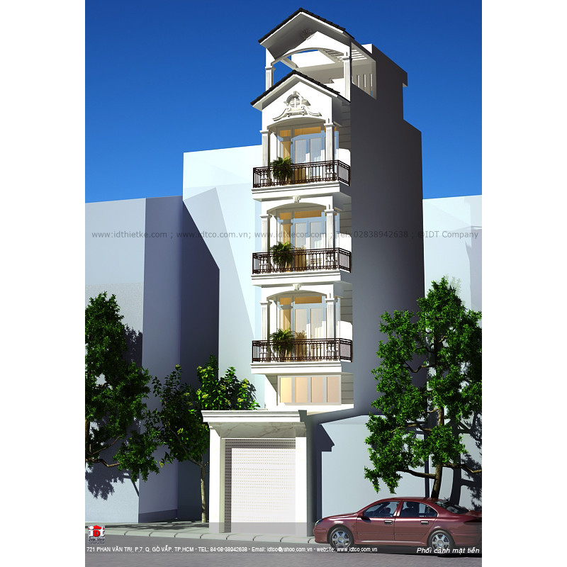 Design of 5-storey townhouse in neoclassical style NPC02