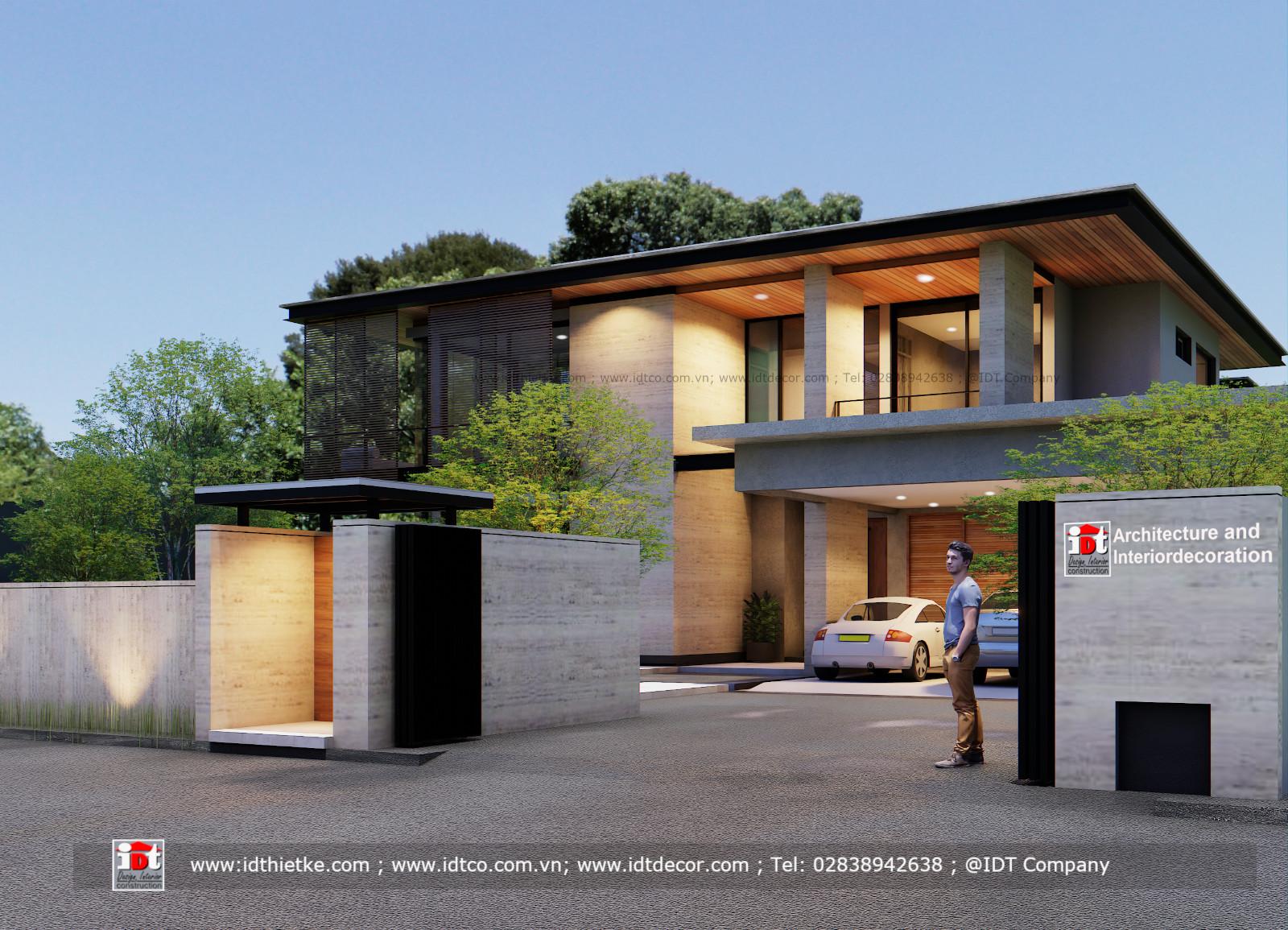 Modern luxury villa design with flat roof with garden Code BT2175