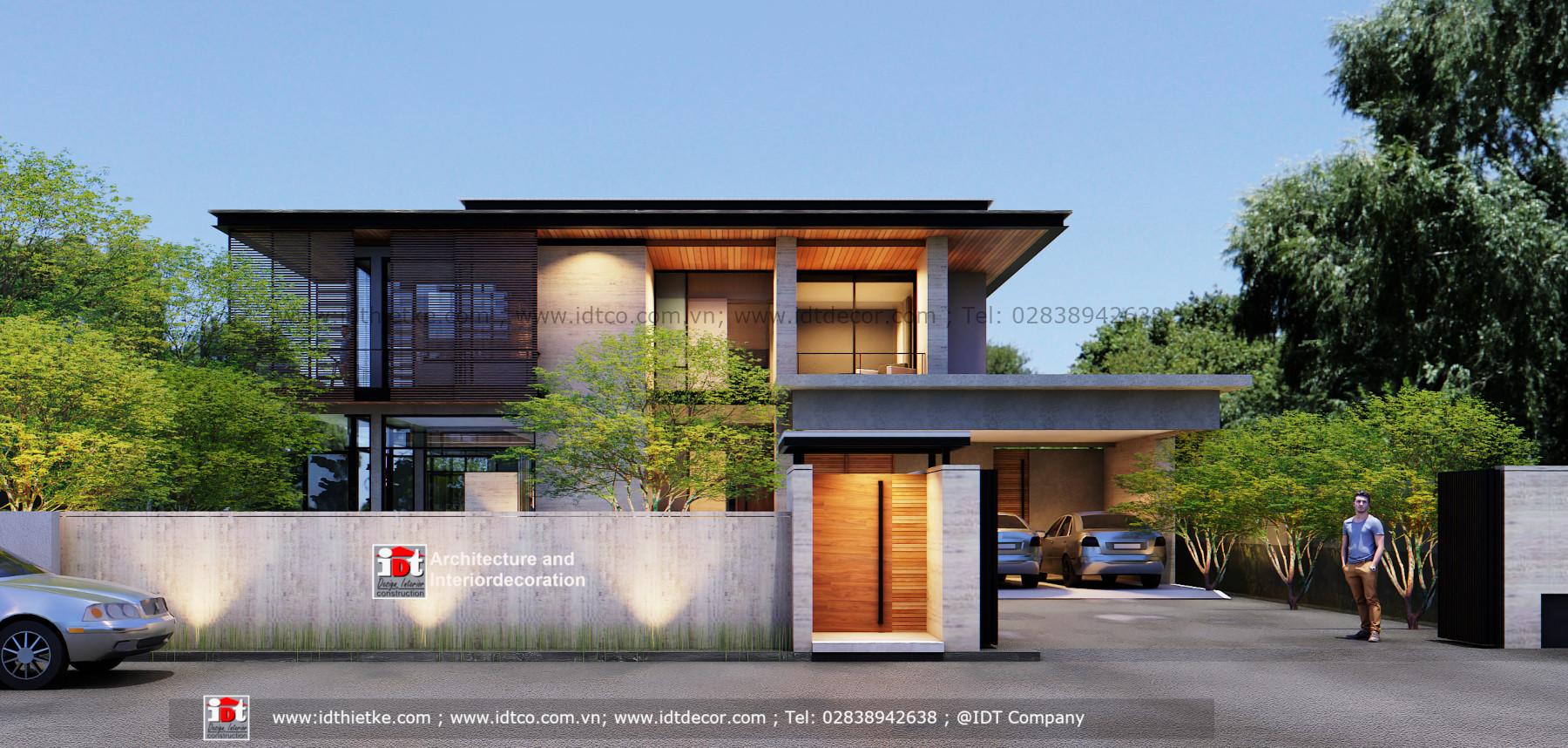 Thiết kế biệt thự hiện đại sang trọng mái bằng có sân vườn